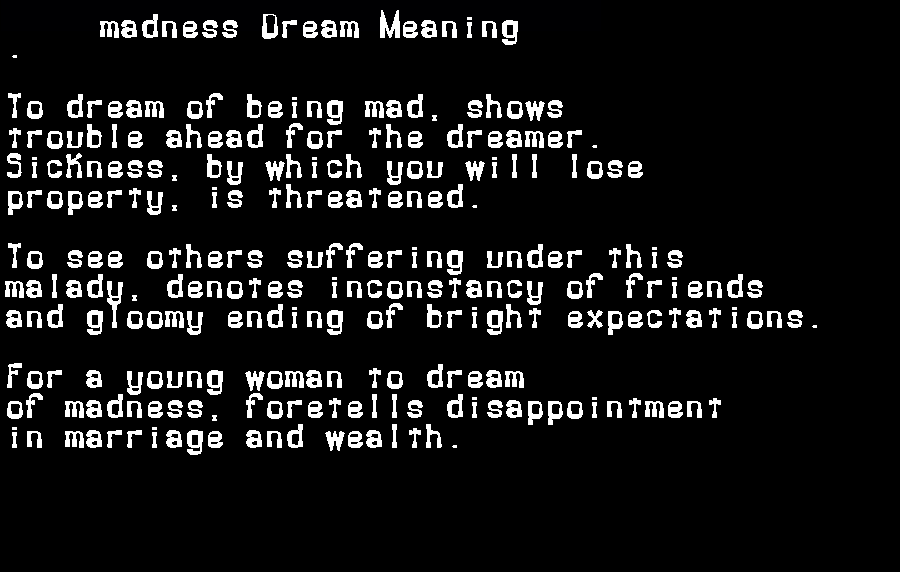dream meanings madness