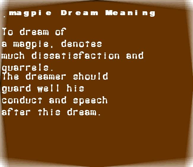 dream meanings magpie