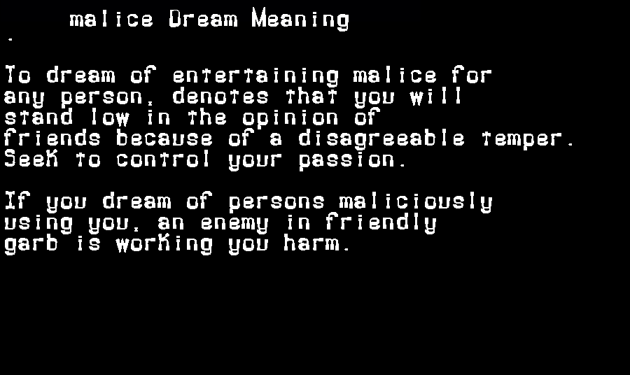 dream meanings malice