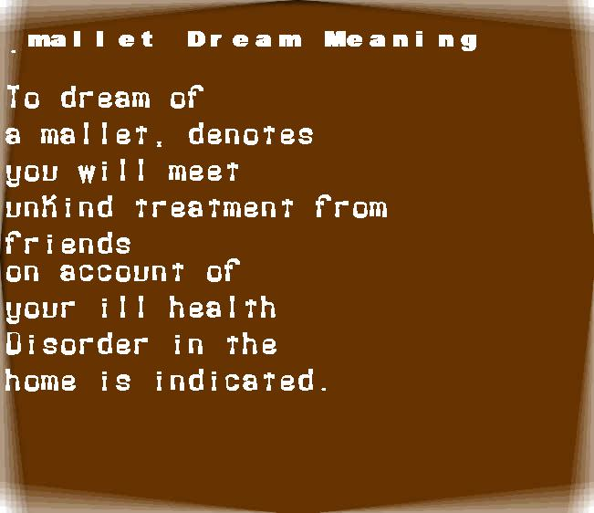 dream meanings mallet