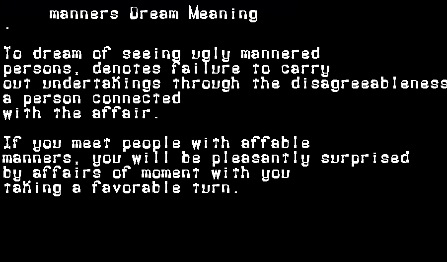 dream meanings manners