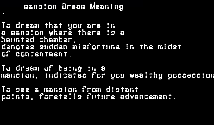 dream meanings mansion