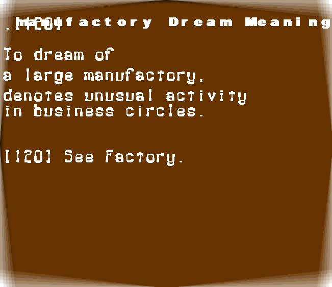 dream meanings manufactory