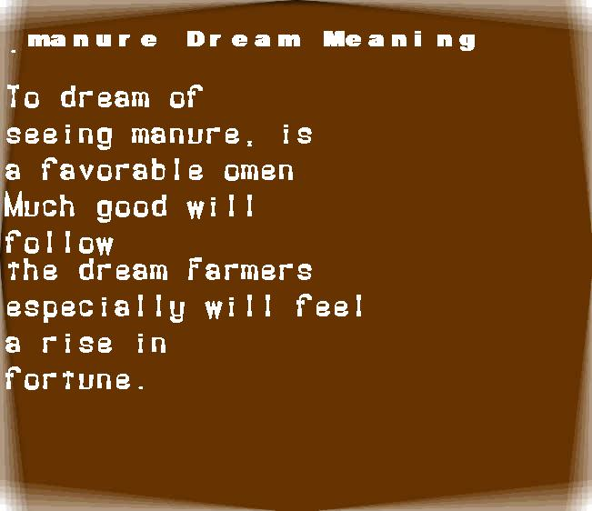 dream meanings manure