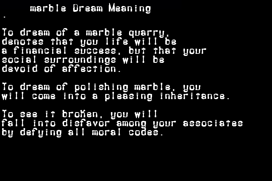 dream meanings marble