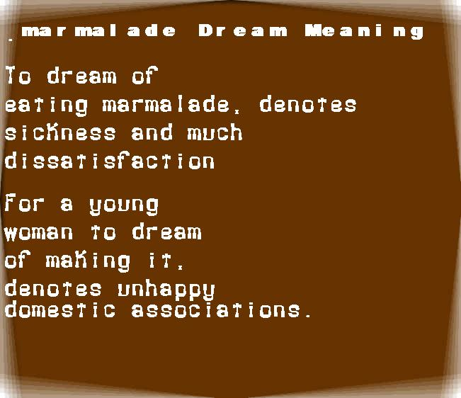 dream meanings marmalade