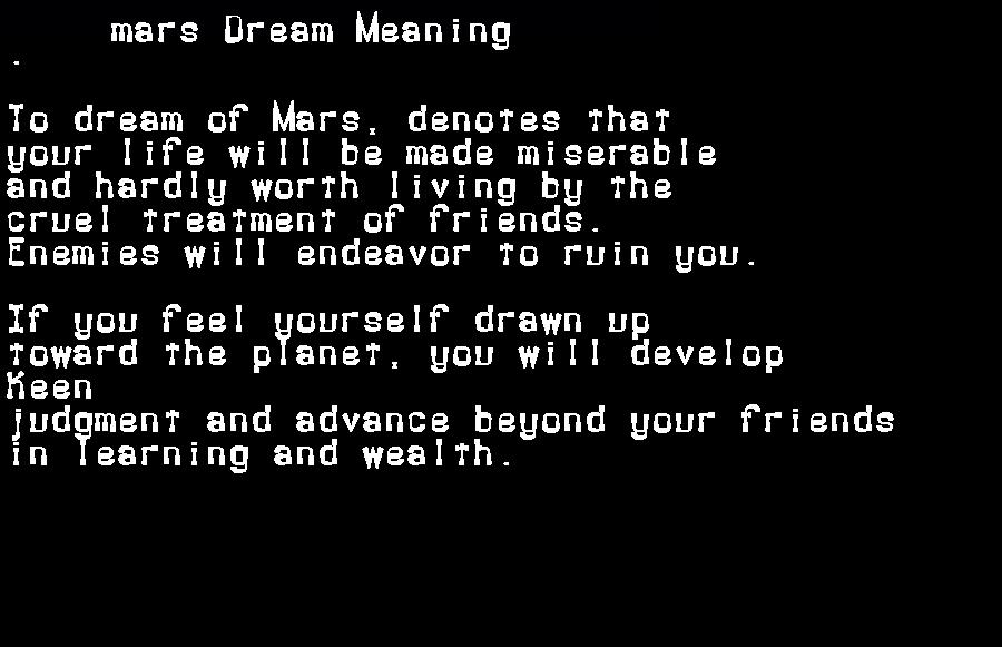 dream meanings mars