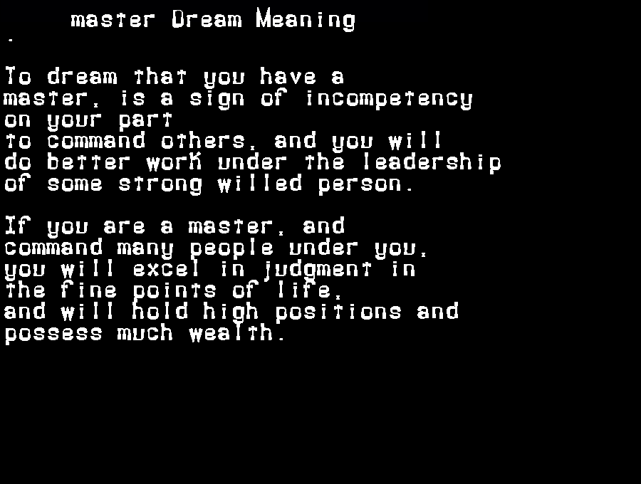 dream meanings master