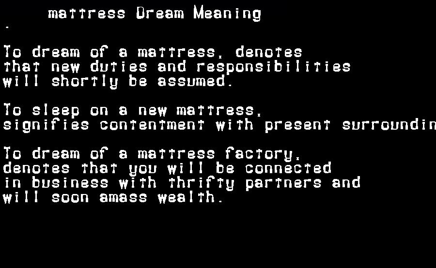 dream meanings mattress