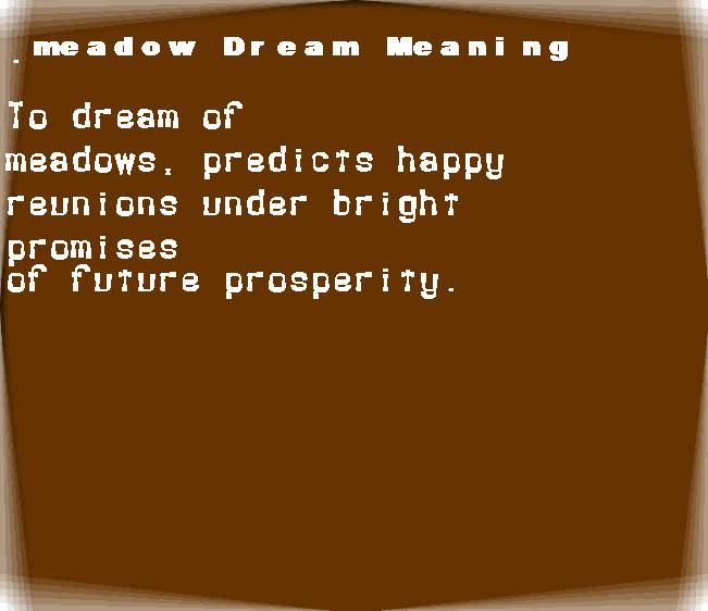 dream meanings meadow