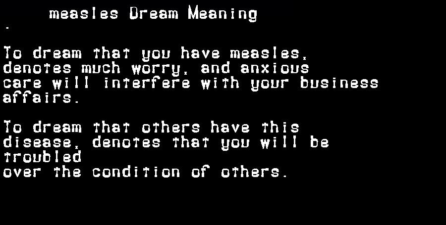 dream meanings measles