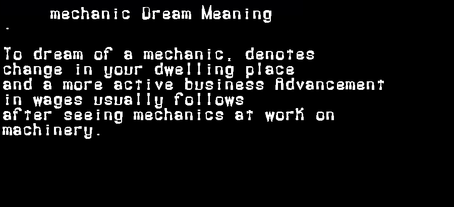 dream meanings mechanic