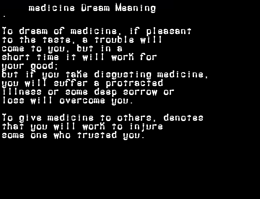 dream meanings medicine