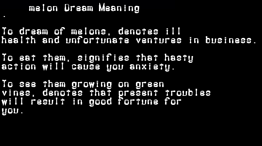dream meanings melon