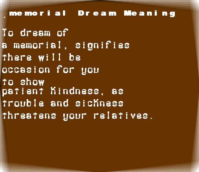 dream meanings memorial