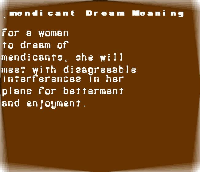 dream meanings mendicant