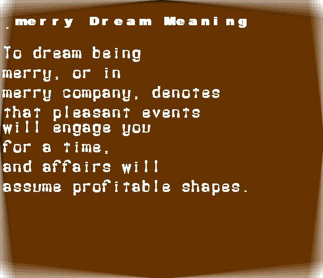 dream meanings merry