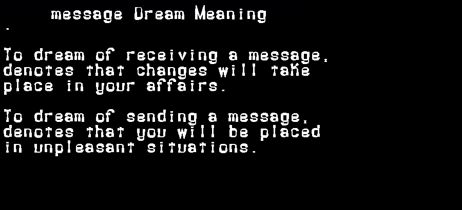 dream meanings message
