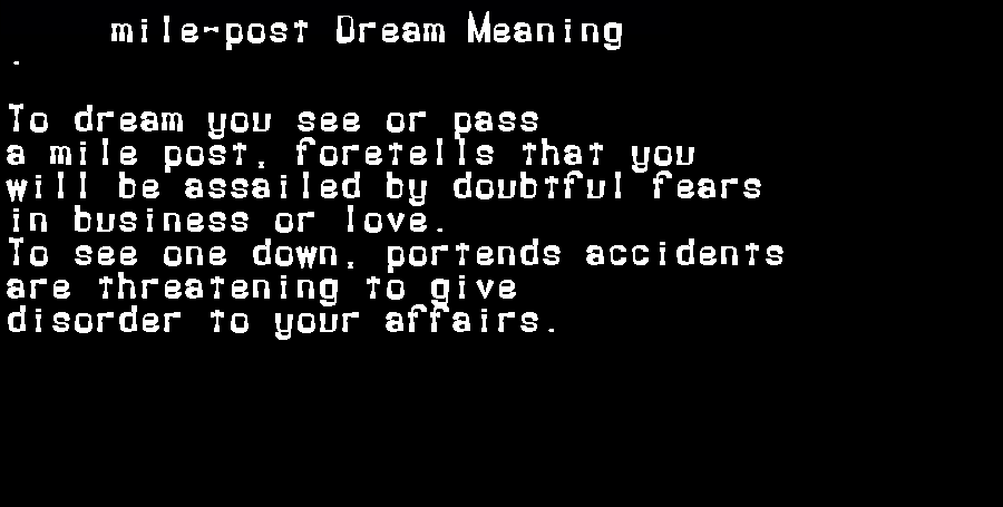 dream meanings mile-post