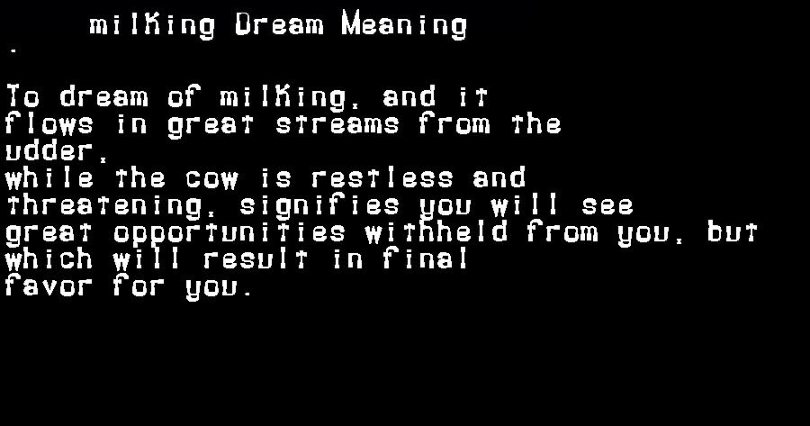 dream meanings milking