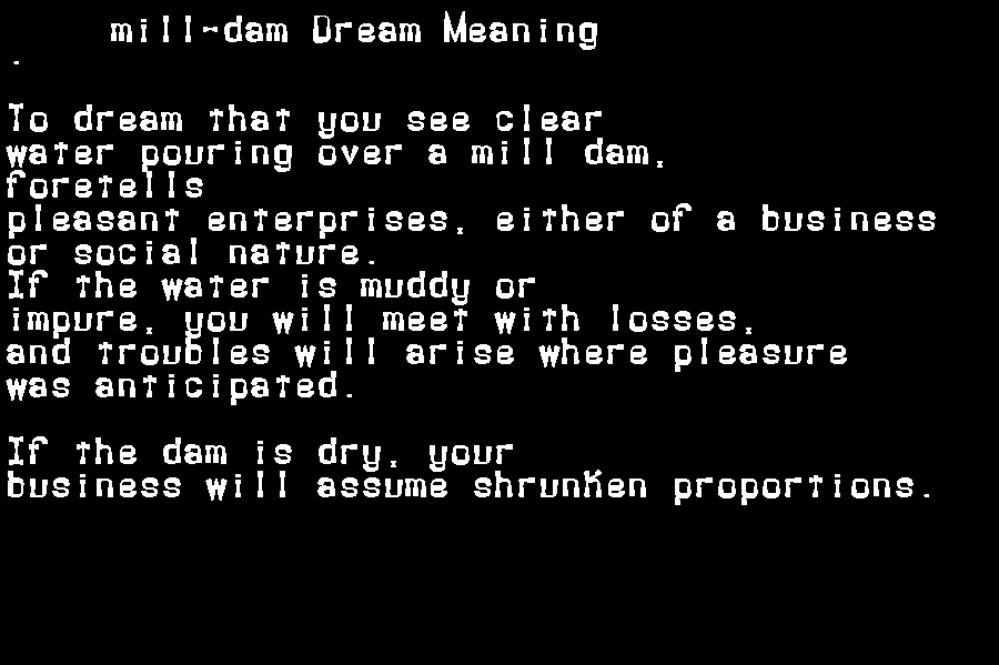 dream meanings mill-dam