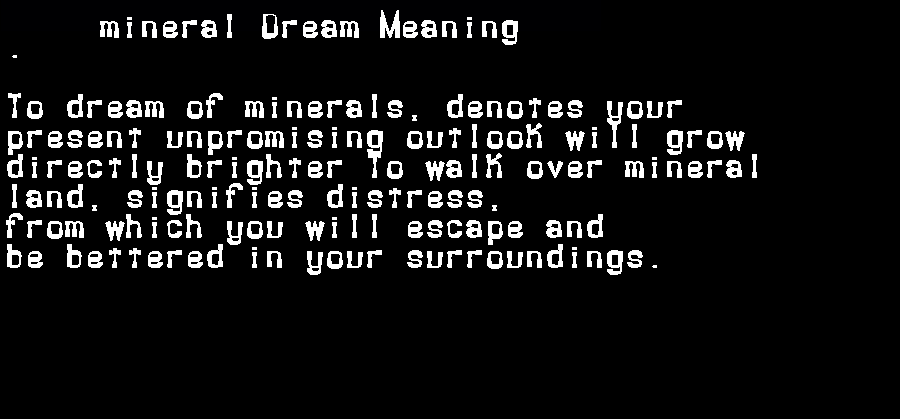 dream meanings mineral