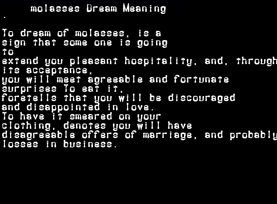 dream meanings molasses