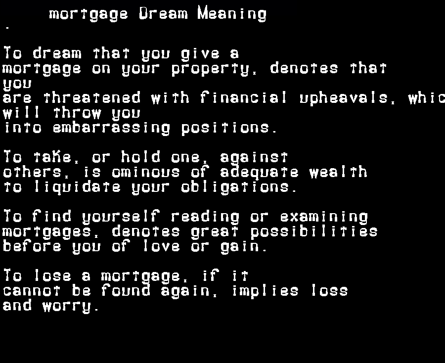 dream meanings mortgage