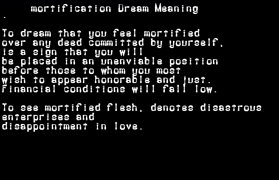 dream meanings mortification