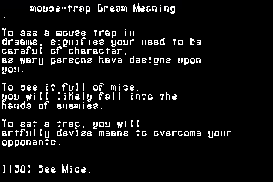 dream meanings mouse-trap