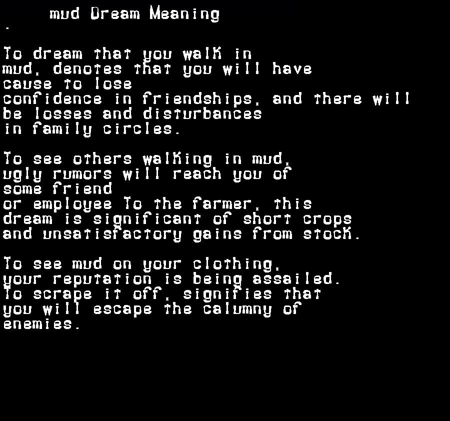dream meanings mud
