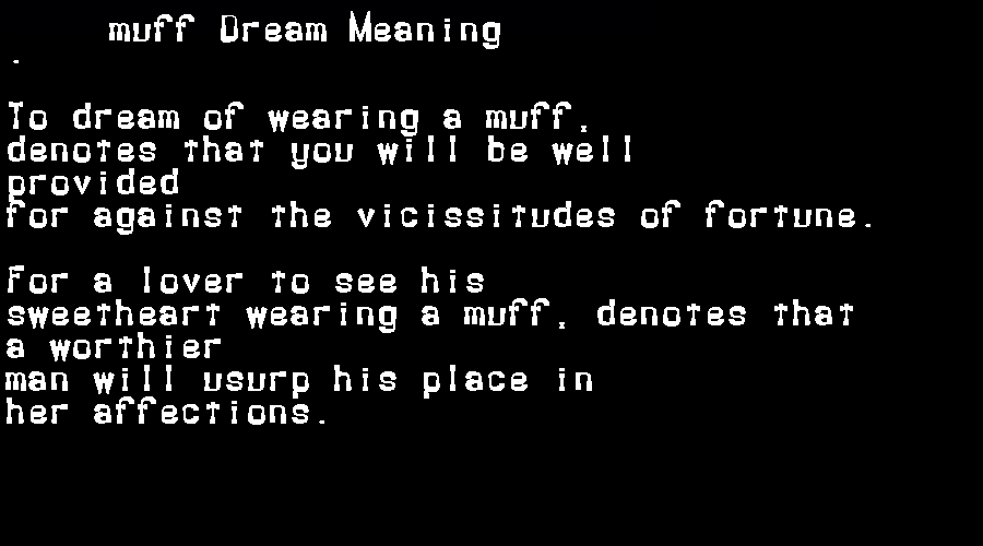 dream meanings muff