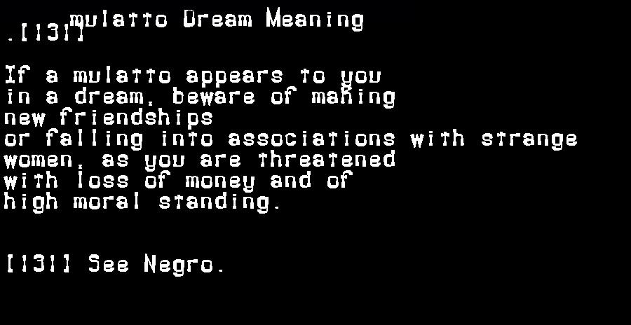 dream meanings mulatto