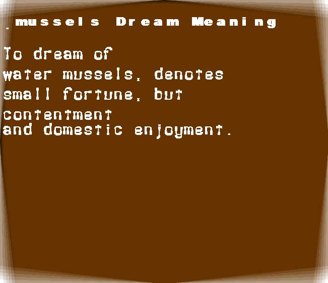 dream meanings mussels