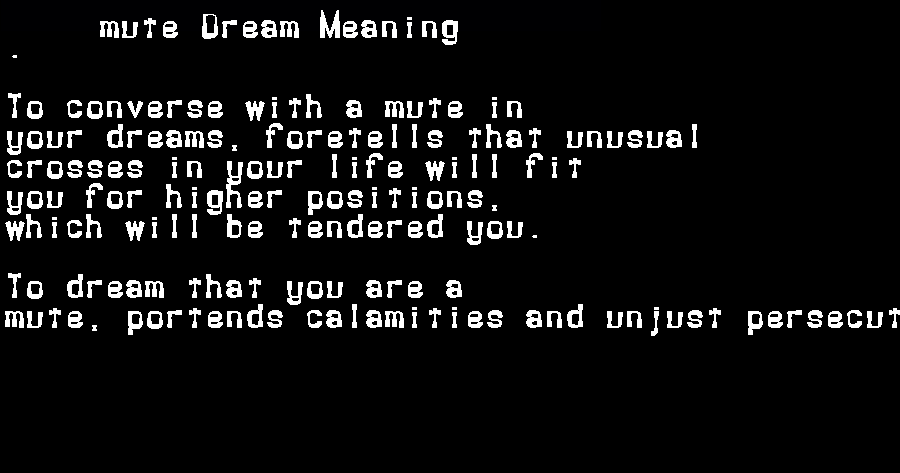 dream meanings mute