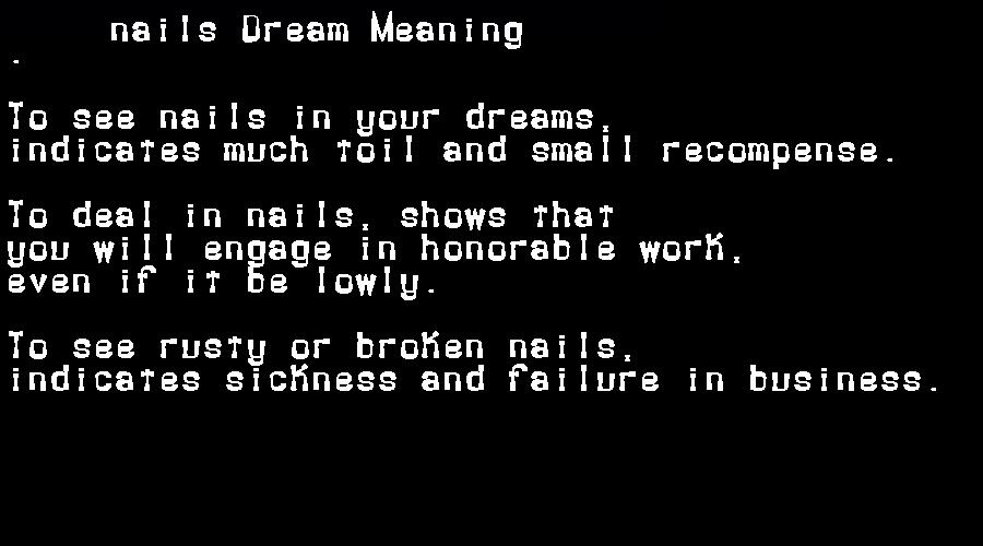 dream meanings nails