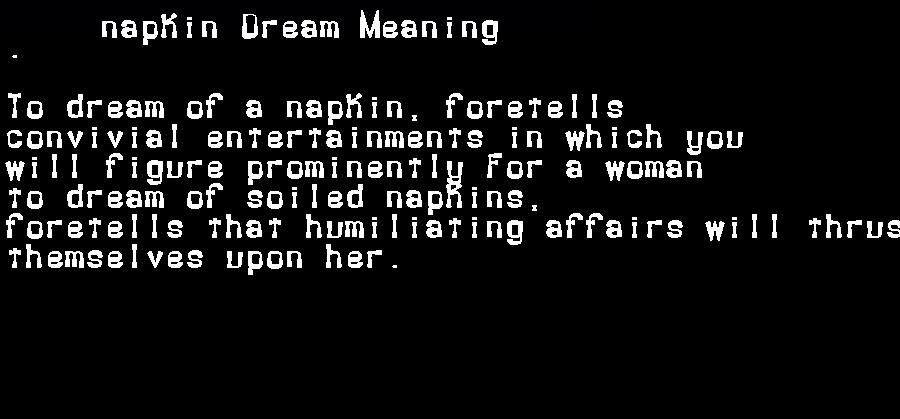 dream meanings napkin