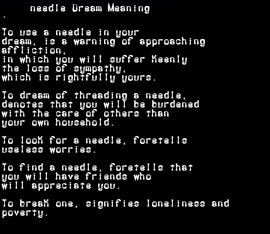 dream meanings needle