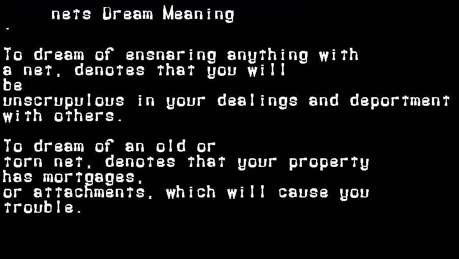 dream meanings nets
