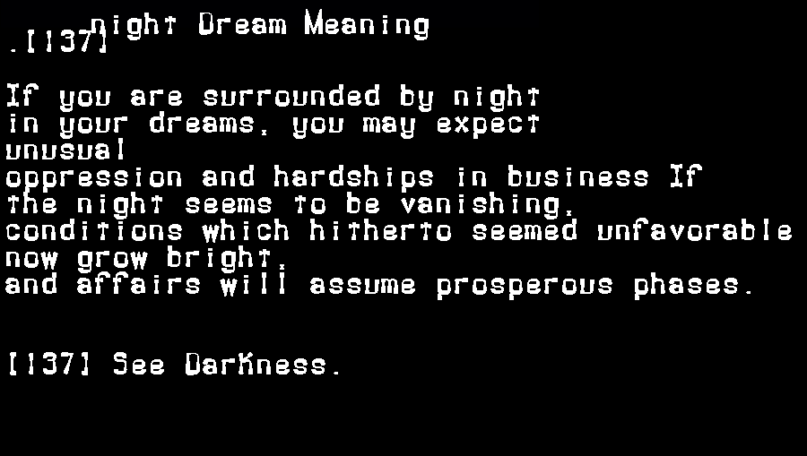 dream meanings night