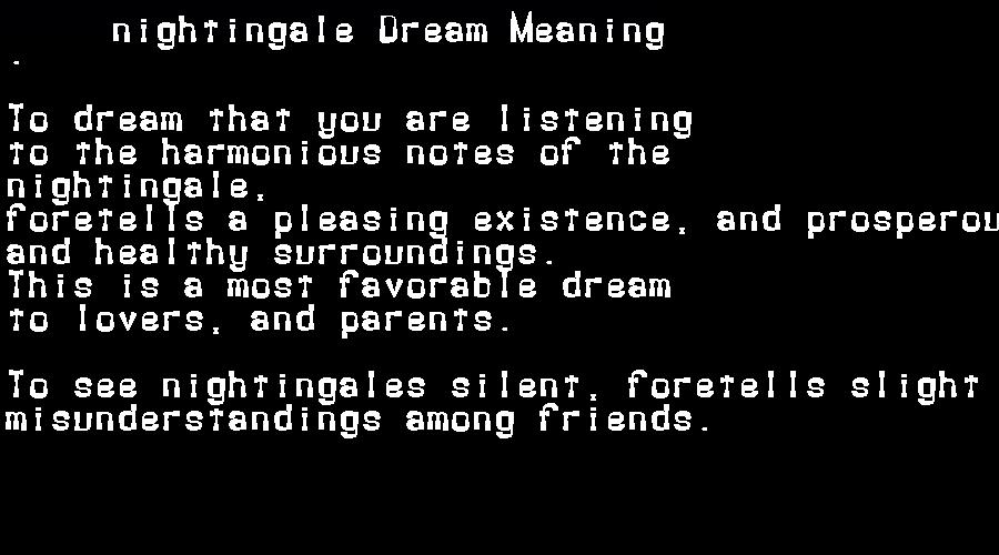 dream meanings nightingale