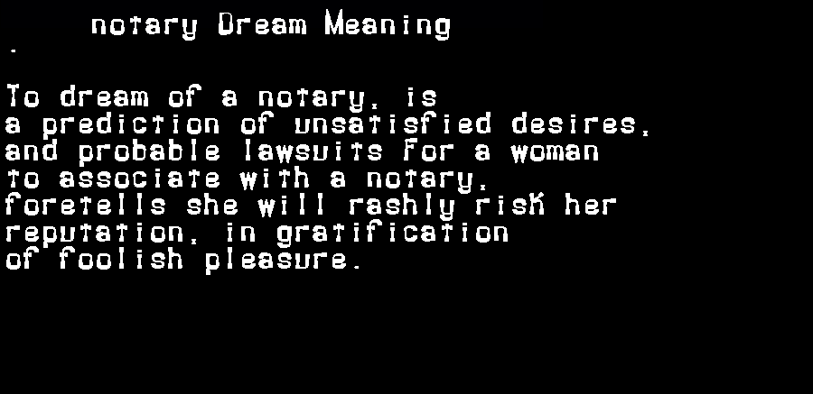 dream meanings notary