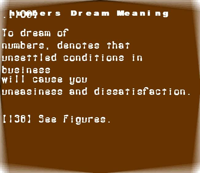 dream meanings numbers
