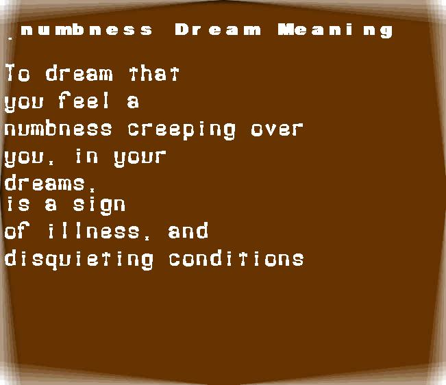 dream meanings numbness