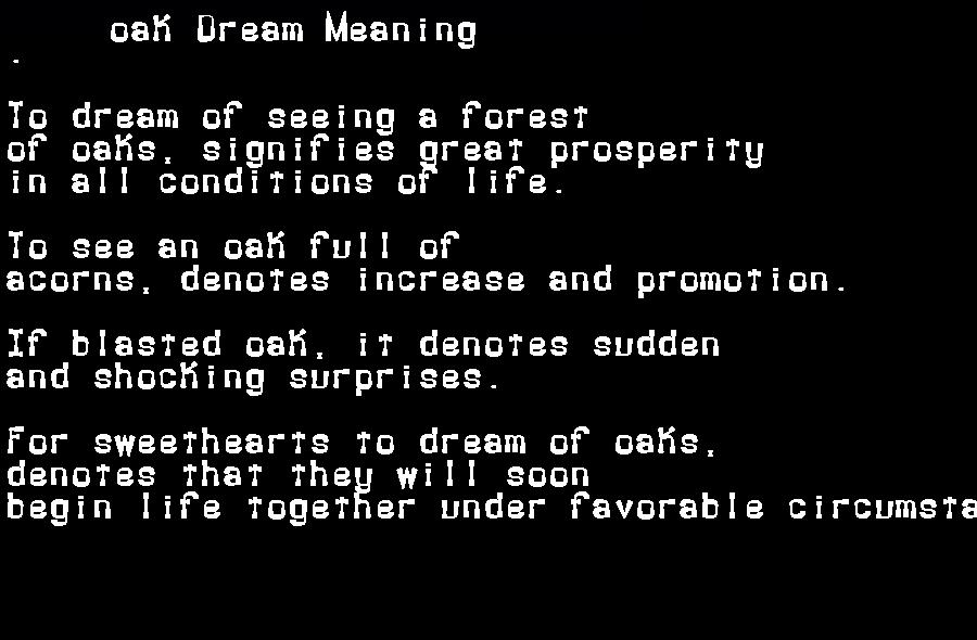 dream meanings oak