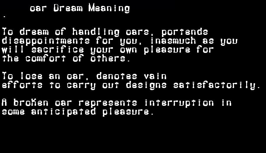 dream meanings oar