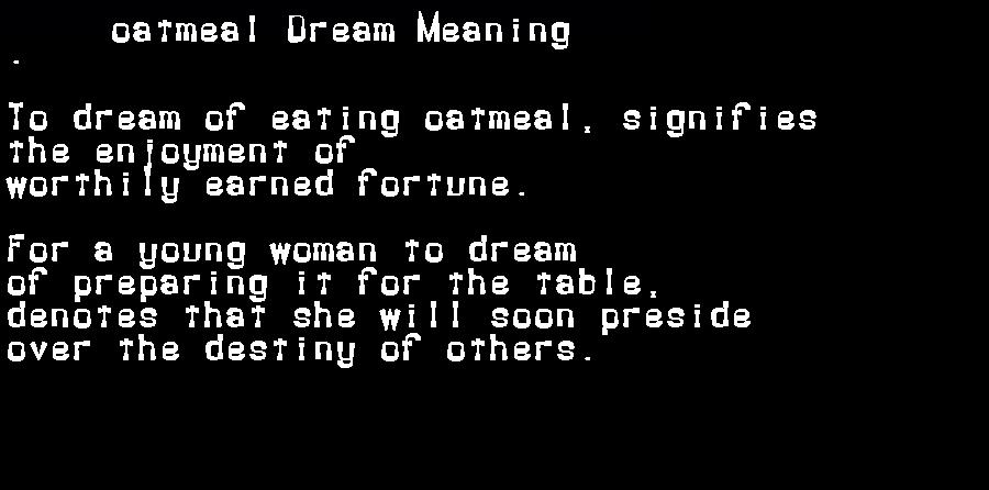 dream meanings oatmeal