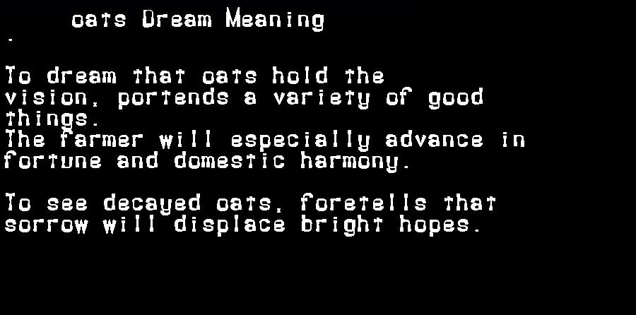 dream meanings oats