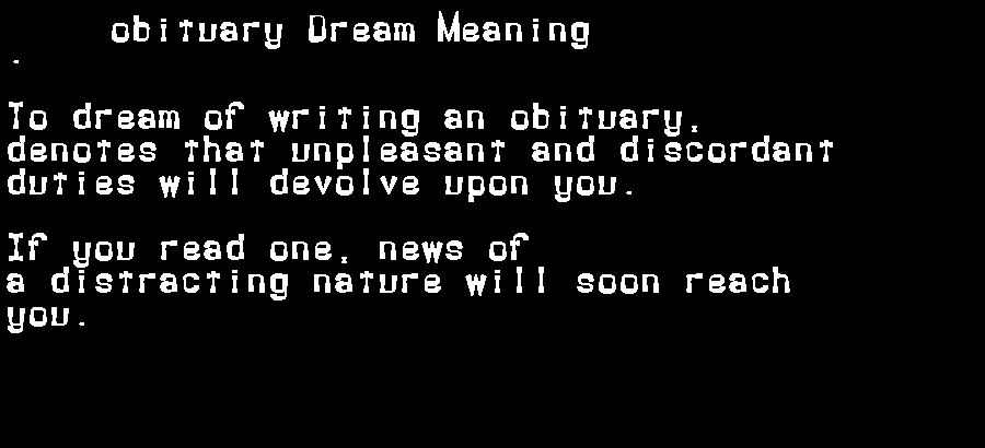 dream meanings obituary