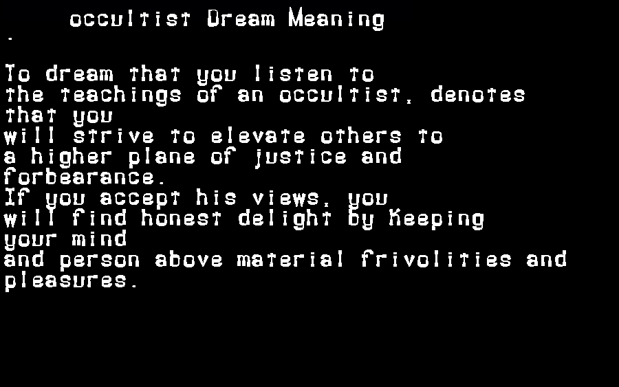 dream meanings occultist